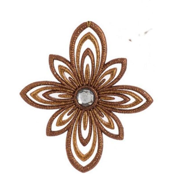 "5"" Seasons of Elegance Gold Glitter Snowflake Star Christmas Tree Ornament"
