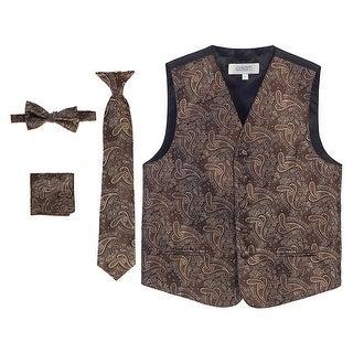 Gioberti Little Boys Khaki Paisley Tuxedo Vest Bowtie Tie Pocket 4 Pc Set (3 options available)