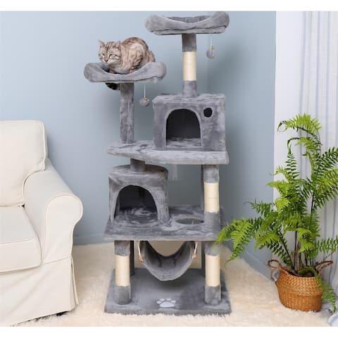 Merax 57 inches Multi-Level Cat Tree Pet Play House - Light Gray