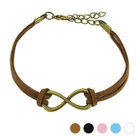 Large Infinity Symbol Cast Iron Leatherette Bracelet with Lobster Claw Clasp (13 mm) - 7.5 in