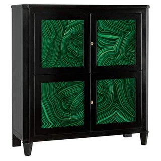"""Currey and Company 3249 Sinclair 50.25"""" Wide Bar Cabinet with Malachite Printed - black lacquer / emerald green lacquer"""