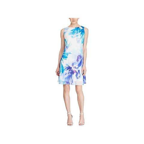 AMERICAN LIVING Womens Blue Sleeveless Shift Cocktail Dress Size 4
