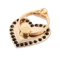 Smartphone Metal Rhinestone Inlaid Finger Ring Heart Shaped Holder Stand Black