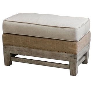 """Link to Uttermost 23616 Schafer 30.7""""W x 19""""D Rectangular Ottoman - Wood and Linen Similar Items in Living Room Furniture"""