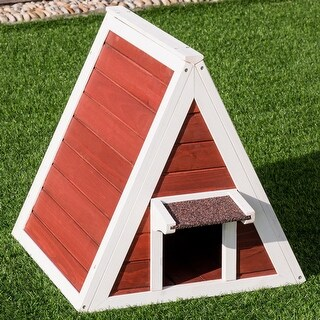 Gymax Weatherproof Wooden Cat House Furniture Shelter Condo with Eave Outdoor/Indoor - as pic