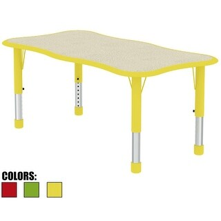 2xhome Adjustable Height Kids Table For Toddler Child Children Preschool Daycare School Wood Activity Chrome Wave Shape Yellow