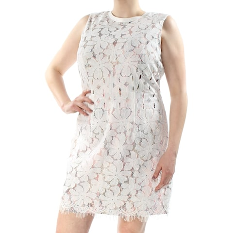 TOMMY HILFIGER Womens Ivory Lace-overlay Printed Above The Knee Shift Dress Plus Size: 16W