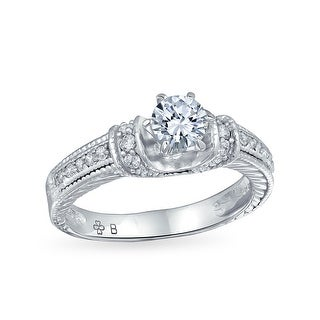 Deco Style 1CT Brilliant Round Solitaire U Set Pave 6 Prong Band AAA CZ Engagement Ring For Women 925 Sterling Silver