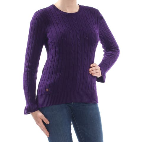 RALPH LAUREN Womens Purple Ruffled Cable-knit Long Sleeve Crew Neck Sweater Size: L