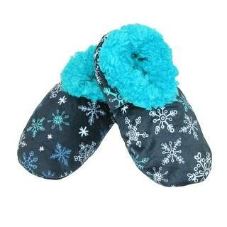 Lazy One Women's Snowflake Print Fuzzy Feet Slippers - Blue
