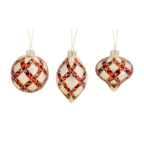 Pack of 12 Red, Black and White Diamond Pattern Glass Ornaments
