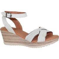 Dromedaris Women's Lucy Quarter Strap Sandal White Waxed Leather