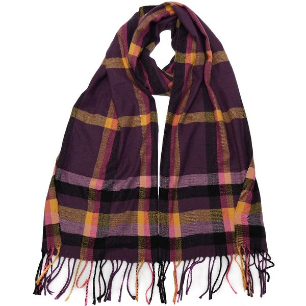 Winter or Fall Cold Weather Irish Plaid Long Cashmere Feel Scarf, Purple