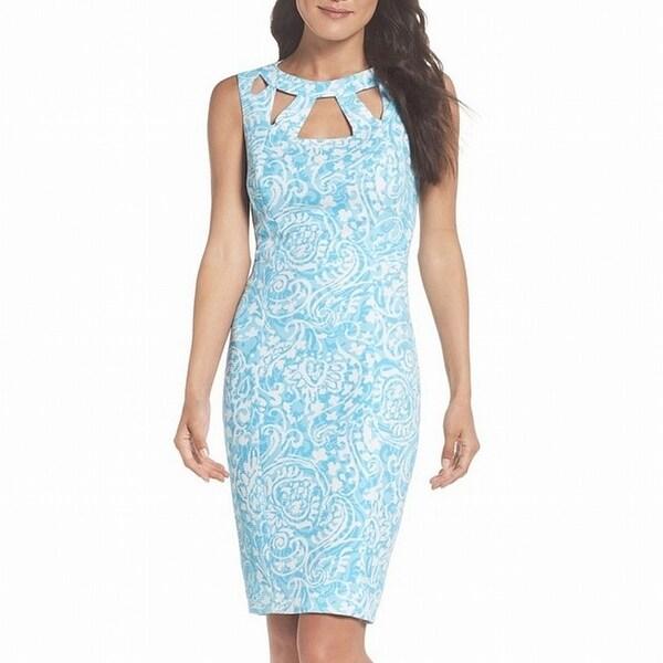 Eliza J Blue Women's Size 14 Cutout Textured Printed Sheath Dress