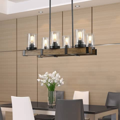 "Black Metal and Wood 6-light Chandelier with Seeded Glass Shades - 13.4""L X 25.6""W X 7.5""H - 13.4""L X 25.6""W X 7.5""H"