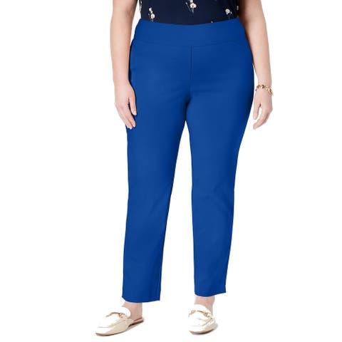 Charter Club Women Dress Pants Blue Size 18W Plus Tummy Control Stretch