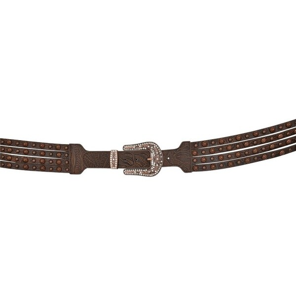 Angel Ranch Western Belt Womens Embossed Studs Leather Brown