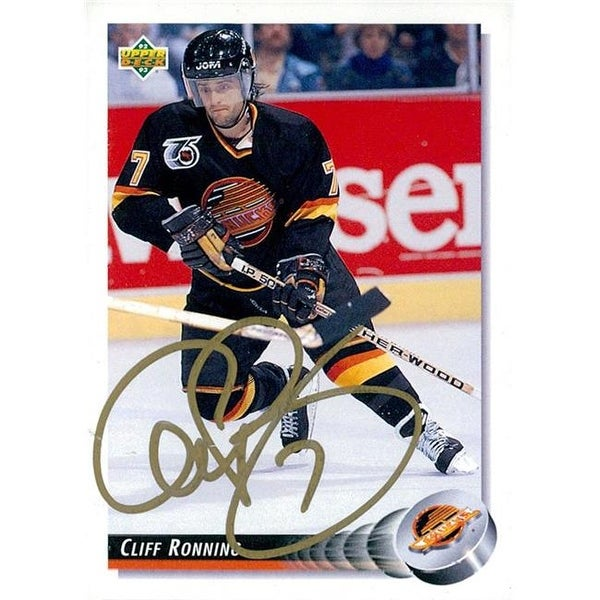 ca83d2d4705 Shop Signed Ronning Cliff Vancouver Canucks 1992 Upper Deck Hockey ...