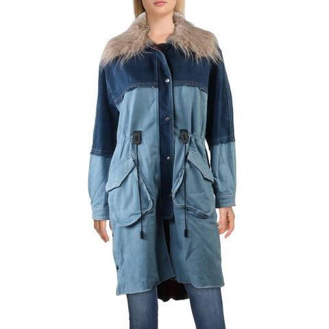 Free People Days To Come Women's Faux Fur Trim Mixed Denim Raw Hem Parka Coat - Two Face