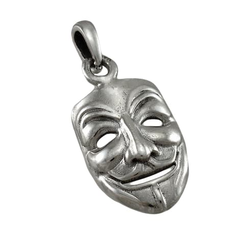 Sterling Silver Guy Fawkes Mask Pendant V Vendetta - One Size