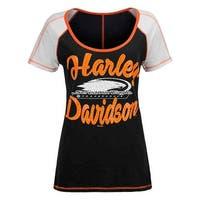 Harley-Davidson Women's Screamin' Eagle Cross Stitch Short Sleeve Tee HARLLT0216