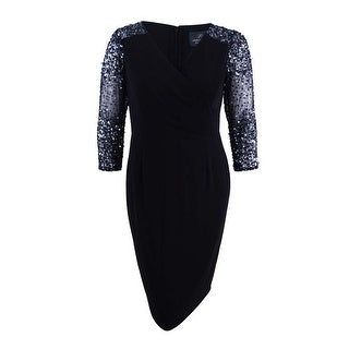 Adrianna Papell Women's Plus Size Illusion-Sleeve Stretch Dress - Black