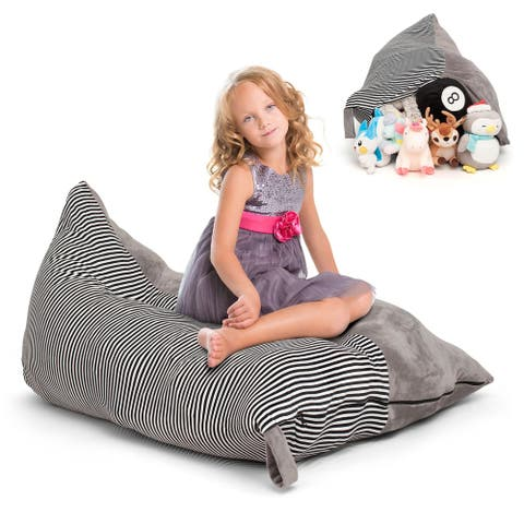 Stuffed Toy Animal Plushies Storage Bean Bag Chair Seat Cover, Gray Stripe
