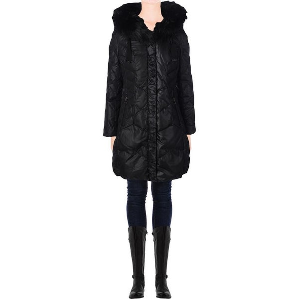 T Tahari Womens Mia Puffer Coat Quilted Down Insulated