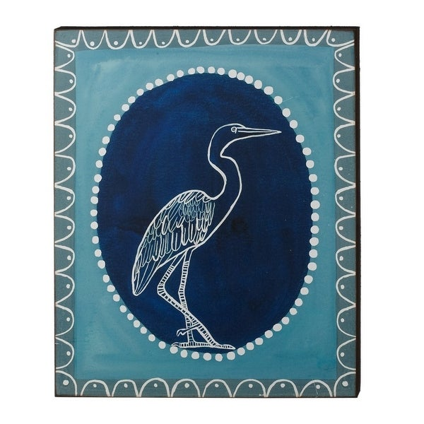 "19"" Unframed Decorative Boarder Blue and White Shorebird Hanging Wall Art - N/A"