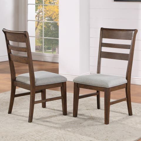 Copper Grove Ohey Warm Walnut Ladder Back Dining Chair - Set of 2