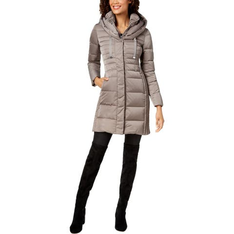 Tahari Mia Women's Quilted Down Insulated Fitted Winter Puffer Coat with Bib
