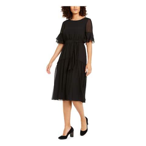 ANNE KLEIN Black Bell Sleeve Tea-Length Dress XXS