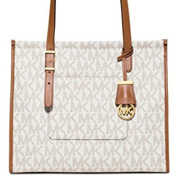 21a43b595c8ea7 Shop MICHAEL KORS Darien Medium Vanilla/Acorn Logo Tote Bag - Free Shipping  Today - Overstock - 23068705