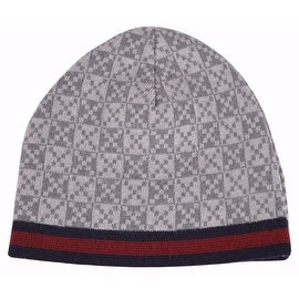 NEW Gucci 347988 Men's Light Grey Diamante Red Blue Stripe Wool Beanie Hat Cap