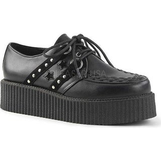 Demonia Men's V Creeper 538 Black Vegan Leather/Suede Textile