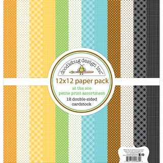 "Doodlebug Petite Prints Double-Sided Cardstock 12""X12"" 12/Pk-At The Zoo"