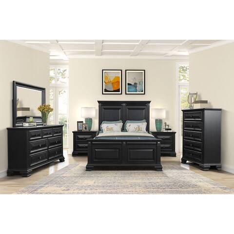 Renova Vintage Black Wood Traditional 6-piece Bedroom Set