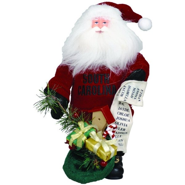 "10"" NCAA South Carolina Gamecocks Gift Bearing Santa Christmas Table Top Figure"