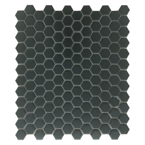 Porcelain Mosaic Hexagon Matte Black Floor and Wall Tile 19.3 SQ FT