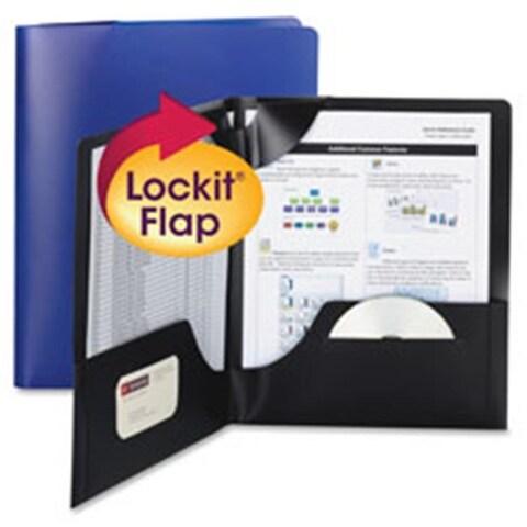 Smead SMD87942 Lockit Two-Pocket Folders, Dark Blue - 25 Per Box