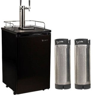 EdgeStar KC2000TWINHBKG 20 Inch Wide Dual Tap Kegerator with Kegs with Home Brew Taps and Ultra Low Temp