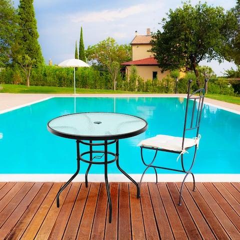 """32"""" Garden Patio Round Bar Glass Table Umbrella Deck Outdoor Furniture"""