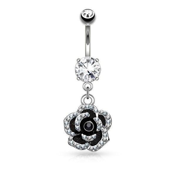 Pave Crystal Petals on Black Flower Dangle Surgical Steel Navel Ring - 14GA (Sold Ind.)