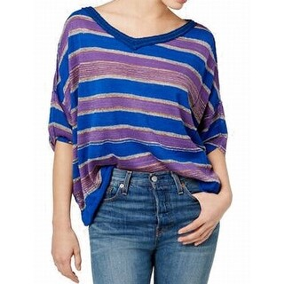 Free People Purple Womens Striped Pullover Sweater