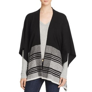 Private Label Womens Poncho Sweater Colorblock Open Front