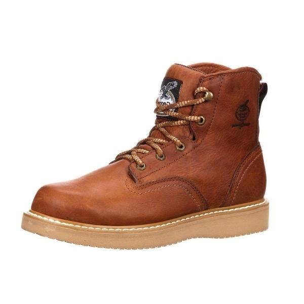 """Georgia Boot Work Mens 6"""" Wedge Steel Toe Leather Barracuda Gold G6342"""