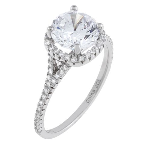 Round-Cut Halo-Set Cubic Zirconia Engagement Ring, Sterling Silver
