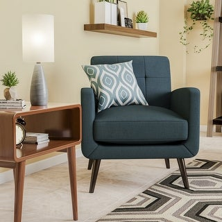 Link to Keflavik Mid-century Peacock Blue Linen Arm Chair Similar Items in Living Room Chairs