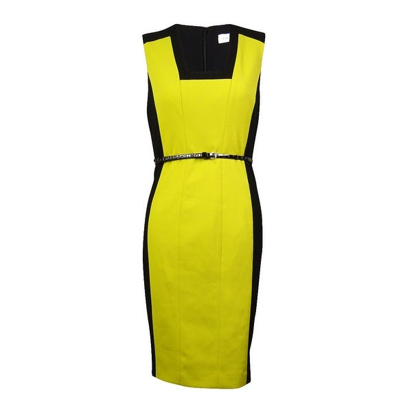 21f77de702d Shop Calvin Klein Women s Belted Square-Neck Sheath Dress -  black chartreuse - 2 - Free Shipping Today - Overstock - 15019596