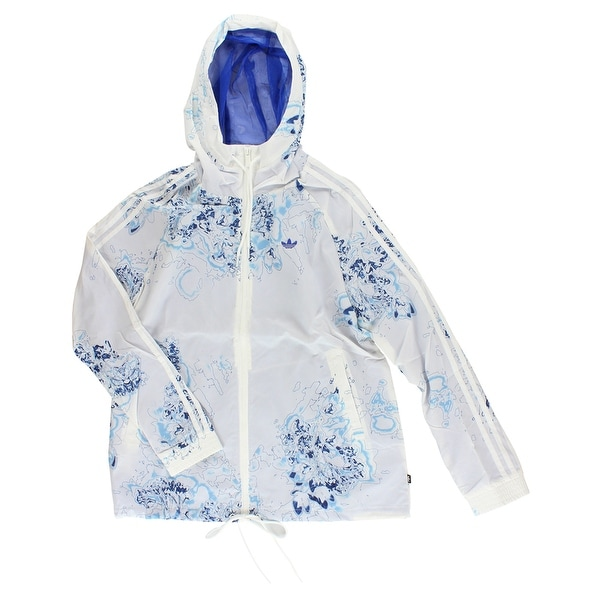 6a489ff8295ed Shop Adidas Womens Londond Printed Windbreaker White - White Blue - M -  Free Shipping Today - Overstock - 22573956